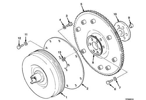 Запчасти на D51 -  FLYWHEEL AND TORQUE CONVERTER (593540 =>) Yale